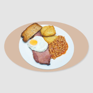 Gammon Egg and Beans Oval Sticker