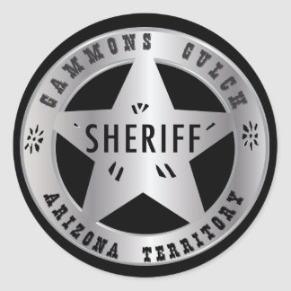 Gammons Gulch Sheriffs Badge Shickers Classic Round Sticker
