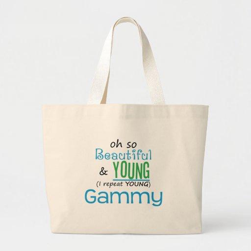Gammy hermoso y joven bolsa tela grande