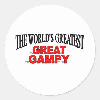 Gampy más grande del mundo el gran pegatina redonda