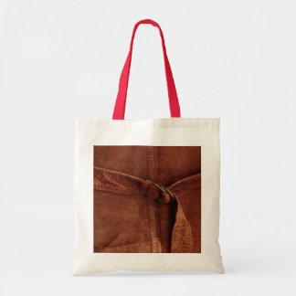 Gamuza marrón con la correa y la hebilla bolsa tela barata