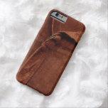 Gamuza marrón con la correa y la hebilla funda de iPhone 6 barely there