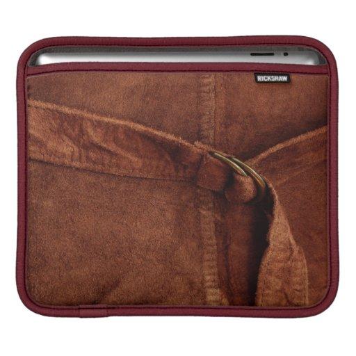 Gamuza marrón con la correa y la hebilla manga de iPad