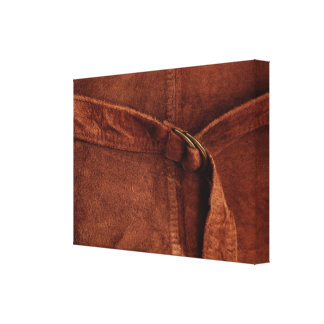 Gamuza marrón con la correa y la hebilla impresión en lienzo estirada