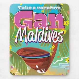 Gan Maldives island vintage travel poster art. Mouse Pad