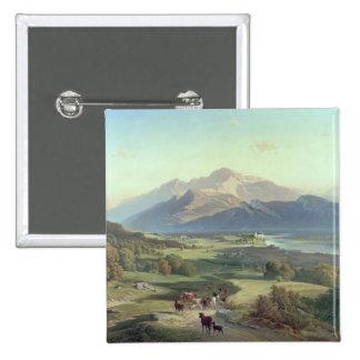 Ganadero a caballo con su ganado en un Mountaino Pin Cuadrada 5 Cm
