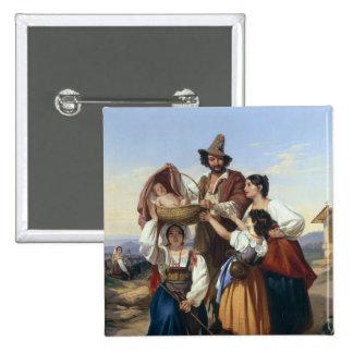 Ganadero italiano, 1835 pin cuadrada 5 cm