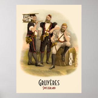 Ganaderos alpinos de Gruyeres, poster de Suiza
