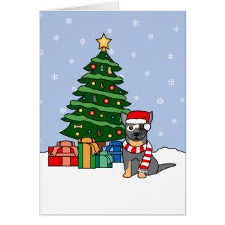 Ganado australiano perro y árbol de navidad tarjeta de felicitación