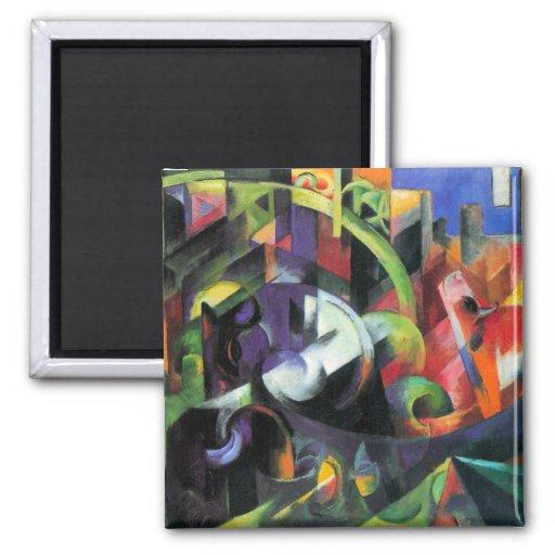 Ganado de Franz Marc, bella arte abstracta del Imán Cuadrado