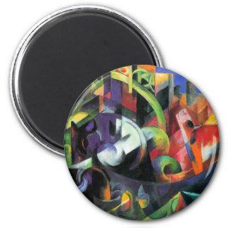 Ganado de Franz Marc, bella arte abstracta del Imán Redondo 5 Cm