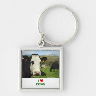 Ganado de Holstein Llavero Cuadrado Plateado