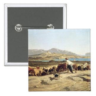 Ganado que reúne cerca de Marsella, 1853 (aceite e Pin Cuadrada 5 Cm