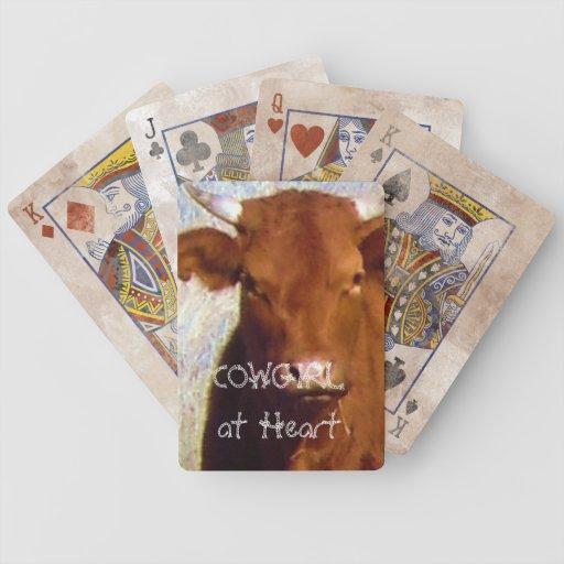 Ganado rojo lindo de la vaca con los cuernos - vaq cartas de juego
