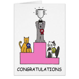 ¡Ganador de la demostración del gato de la Tarjeta De Felicitación