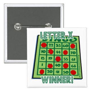 """¡Ganador de la letra """"X"""" del botón del bingo!"""