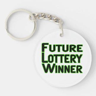 Ganador de lotería futuro llavero redondo acrílico a doble cara