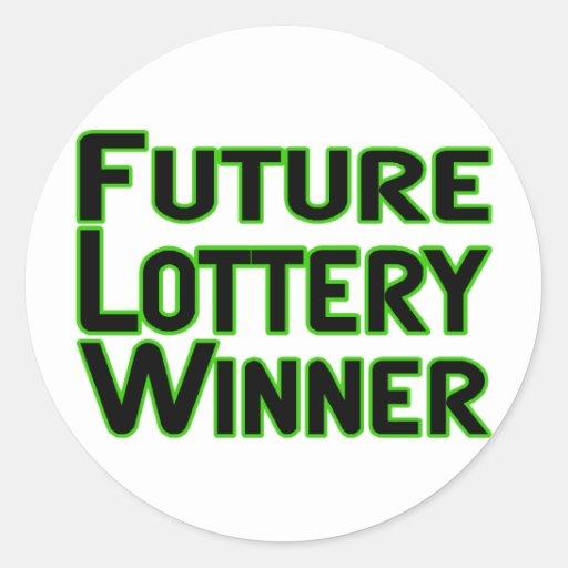 Ganador de lotería futuro pegatina redonda