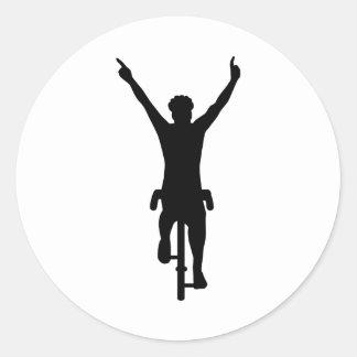 Ganador del ciclista pegatina redonda
