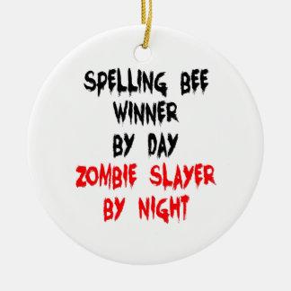 Ganador del concurso de ortografía del asesino del adorno navideño redondo de cerámica