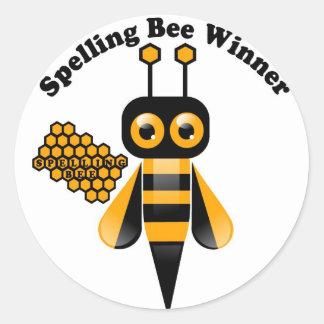 Ganador del concurso de ortografía etiqueta redonda