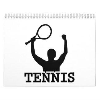 Ganador del partido del tenis calendarios de pared