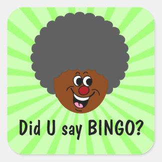 Ganador del premio de la noche del bingo del pegatina cuadrada