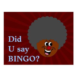 Ganador del premio de la noche del bingo del tarjetas postales