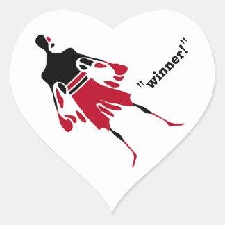 GANADOR - el alcohol de la victoria Pegatina En Forma De Corazón