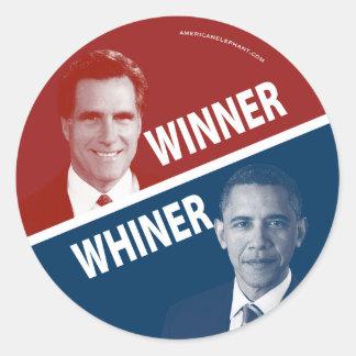 Ganador o Whiner Romney contra Obama Etiqueta Redonda