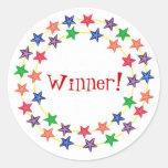 ¡Ganador! , pegatinas, con las estrellas coloridas