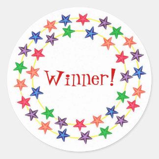 ¡Ganador! , pegatinas, con las estrellas coloridas Pegatina Redonda