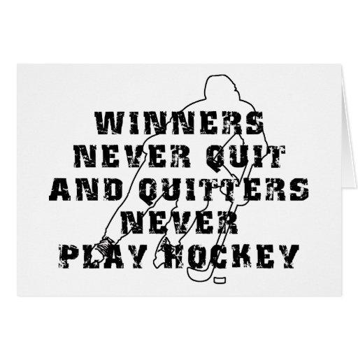 Ganadores del hockey nunca abandonados tarjeta de felicitación