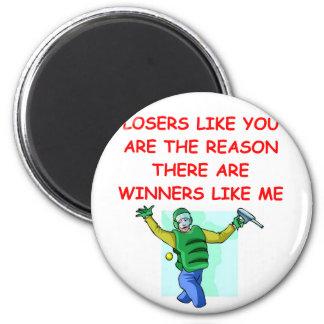 ganadores divertidos y chiste de los perdedores imán para frigorifico