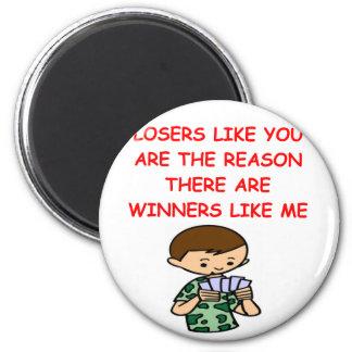 ganadores divertidos y chiste de los perdedores iman de frigorífico