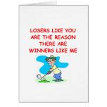 ganadores divertidos y chiste de los perdedores tarjeton