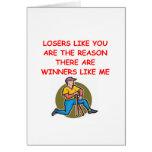 ganadores divertidos y chiste de los perdedores tarjetas