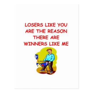 ganadores divertidos y chiste de los perdedores tarjeta postal