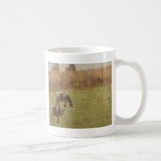 ganados lecheros en el pasto taza básica blanca