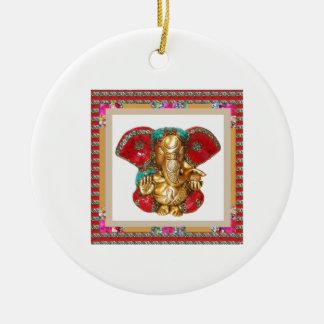 Ganapati Ganesh Double-Sided Ceramic Round Christmas Ornament