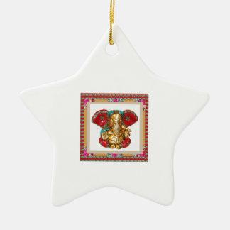 Ganapati Ganesh Double-Sided Star Ceramic Christmas Ornament