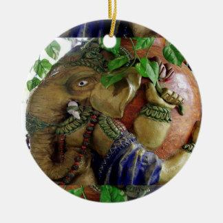 Ganapati Ganesh - Elephant Shaped Metal Art Double-Sided Ceramic Round Christmas Ornament