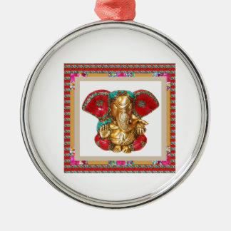 Ganapati Ganesh Round Metal Christmas Ornament