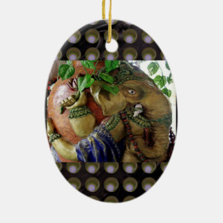 Ganapati Ganesh with Ganga Jal Vessel Double-Sided Oval Ceramic Christmas Ornament