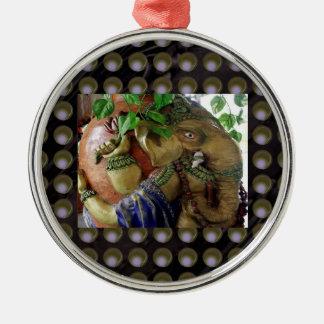 Ganapati Ganesh with Ganga Jal Vessel Round Metal Christmas Ornament