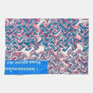 Ganapati Sanskrit Mantra Prayer Symbolic Text Gift Hand Towel