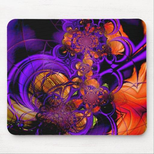 Ganchillo anaranjado púrpura 2 del metal abstracto tapete de ratones