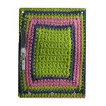 Ganchillo azul, verde, rosa pizarras blancas