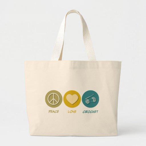 Ganchillo del amor de la paz bolsa tela grande