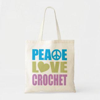 Ganchillo del amor de la paz bolsa lienzo